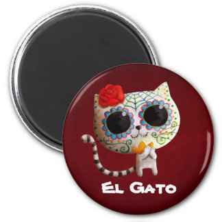 The Day of The Dead Cute Cat 6 Cm Round Magnet