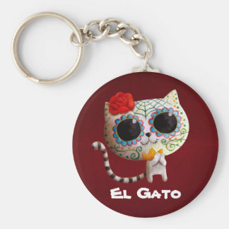 The Day of The Dead Cute Cat Basic Round Button Key Ring
