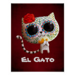 The Day of The Dead Cute Cat Poster