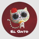 The Day of The Dead Cute Cat Round Sticker