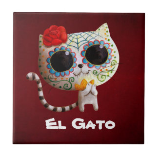 The Day of The Dead Cute Cat Small Square Tile