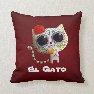 The Day of The Dead Cute Cat Throw Pillow