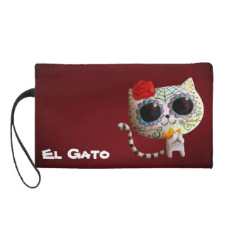 The Day of The Dead Cute Cat Wristlet Clutch