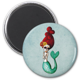 The Day of The Dead Mermaid 6 Cm Round Magnet