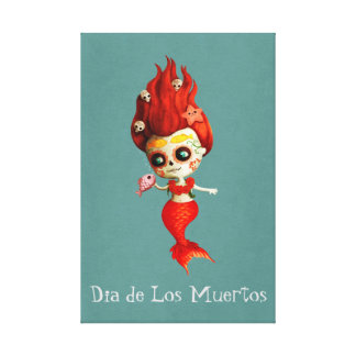 The Day of The Dead Mermaid Canvas Print