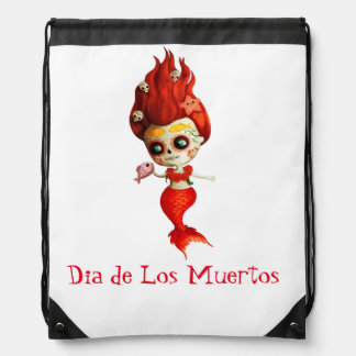 The Day of The Dead Mermaid Drawstring Bag
