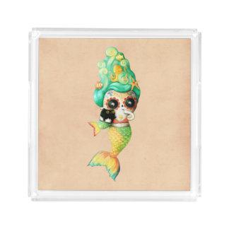 The Day of The Dead Mermaid Girl Acrylic Tray