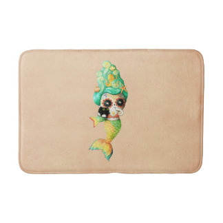 The Day of The Dead Mermaid Girl Bath Mat