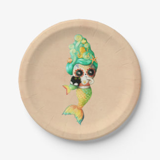 The Day of The Dead Mermaid Girl Paper Plate