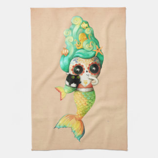 The Day of The Dead Mermaid Girl Tea Towel