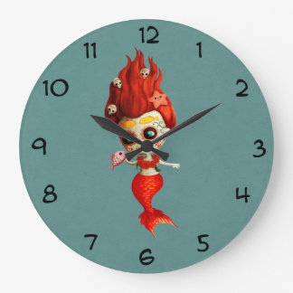The Day of The Dead Mermaid Large Clock