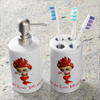 The Day of The Dead Mermaid Soap Dispenser And Toothbrush Holder