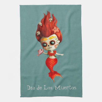 The Day of The Dead Mermaid Tea Towel