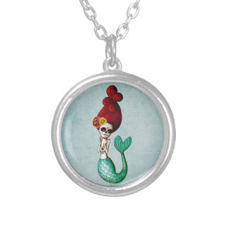 The Day of The Dead Old School Mermaid Gal Silver Plated Necklace