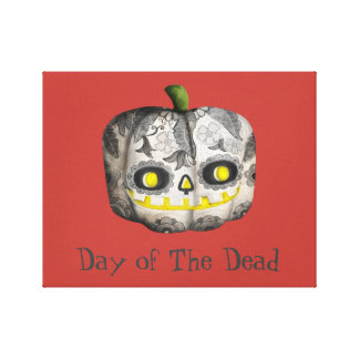 The Day of The Dead Pumpkin Sugar Skull Canvas Prints