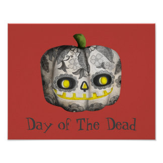 The Day of The Dead Pumpkin Sugar Skull Poster