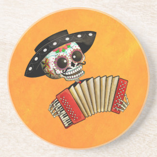 The Day of The Dead Skeleton El Mariachi Beverage Coaster