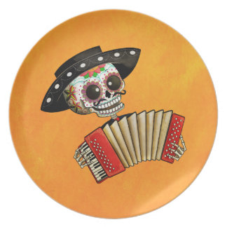 The Day of The Dead Skeleton El Mariachi Plate