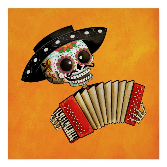 The Day of The Dead Skeleton El Mariachi Poster