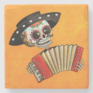 The Day of The Dead Skeleton El Mariachi Stone Beverage Coaster