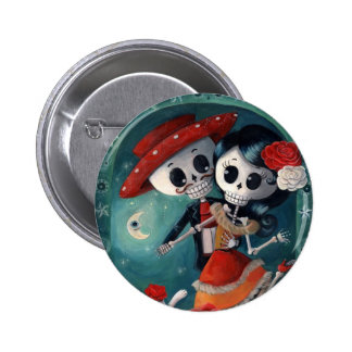 The Day of The Dead Skeleton Lovers 6 Cm Round Badge