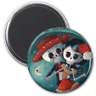 The Day of The Dead Skeleton Lovers 6 Cm Round Magnet