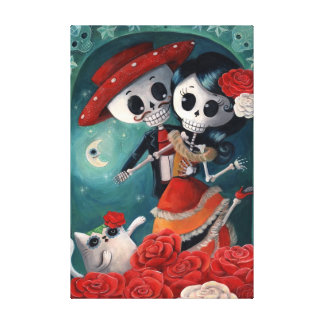 The Day of The Dead Skeleton Lovers Canvas Print