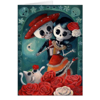 The Day of The Dead Skeleton Lovers Card