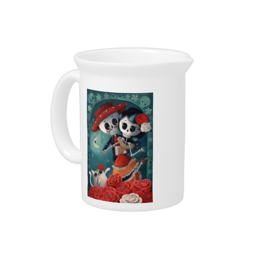 The Day of The Dead Skeleton Lovers Drink Pitcher