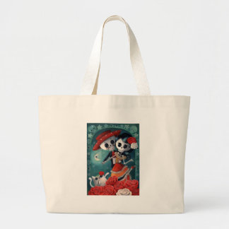 The Day of The Dead Skeleton Lovers Large Tote Bag