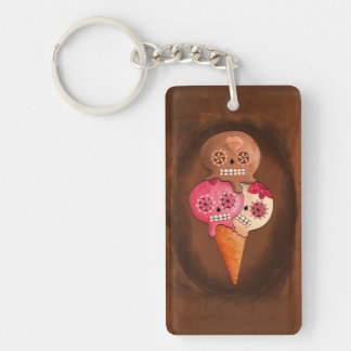 The Day of The Dead Sugar Skulls Ice Cream Single-Sided Rectangular Acrylic Key Ring