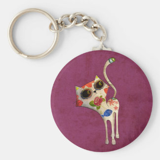 The Day of The Dead White Cute Cat Basic Round Button Keychain
