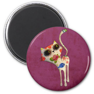 The Day of The Dead White Cute Cat 6 Cm Round Magnet