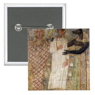 The deceased and his mummy protected by Anubis 15 Cm Square Badge