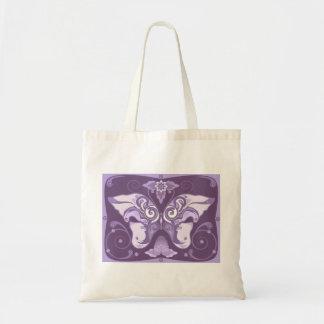 The decorative violet bag design.