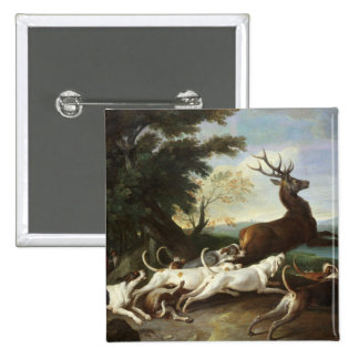 The Deer Hunt, 1718 15 Cm Square Badge