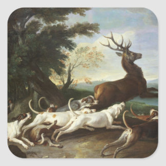 The Deer Hunt, 1718 Square Sticker