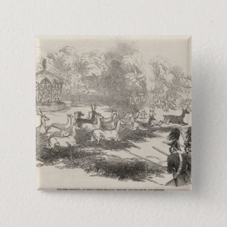 The Deer Shooting at Gotha 15 Cm Square Badge
