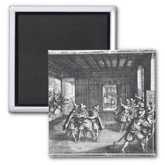The Defenestration of Prague in 1618 Square Magnet