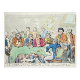 The delegates in council or beggars on horseback postcard