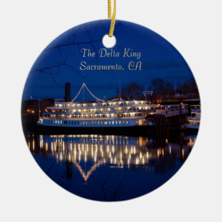 The Delta King at night - Sacramento, CA Christmas Ornament