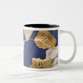 The dentist explained with a dental model Two-Tone coffee mug