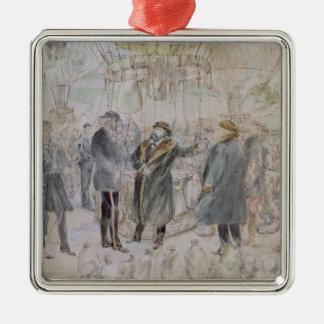 The Departure of Leon Michel Gambetta Silver-Colored Square Decoration