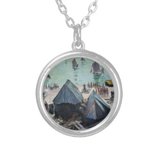 The Departure of the Boats, Etretat by Claude Mone Round Pendant Necklace