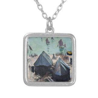 The Departure of the Boats, Etretat by Claude Mone Square Pendant Necklace