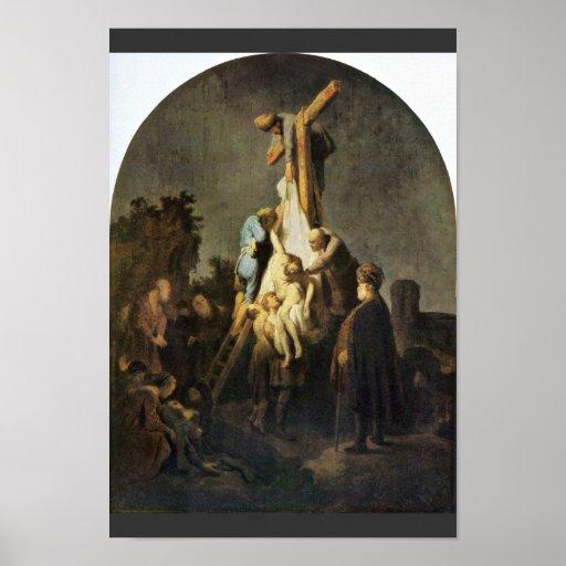 The Deposition. By Rembrandt Van Rijn Poster