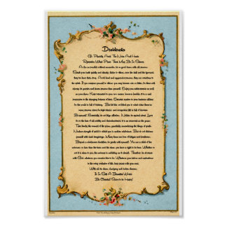 The Desiderata Poem by Max Ehrmann Paris Postcard Poster