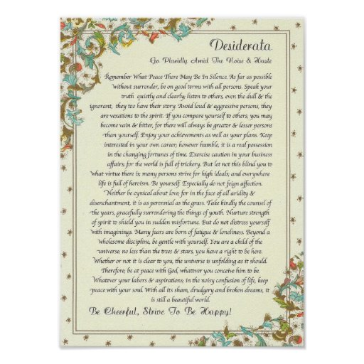 The Desiderata Poem by Max Ehrmann Posters