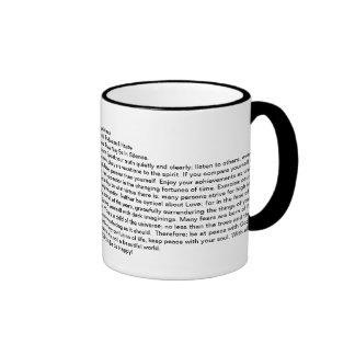 The Desiderata Poem Coffee Mug=Daily Inspiration Ringer Mug