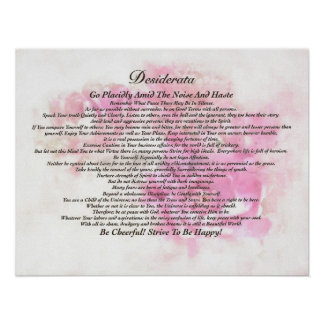 The Desiderata Poem on Fading Lotus Watercolor Poster